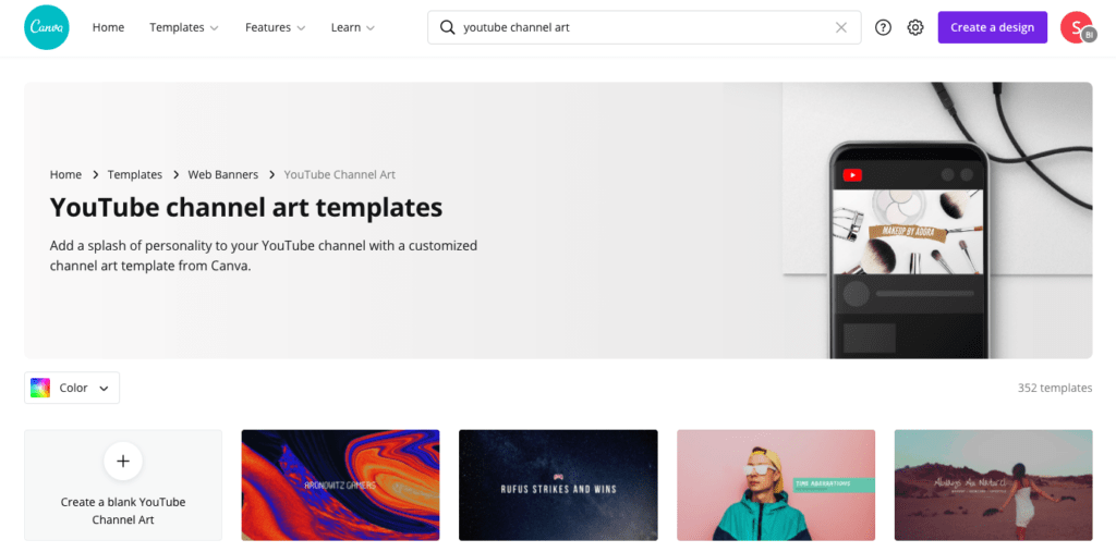 Canva - Free YouTube Channel Art Templates